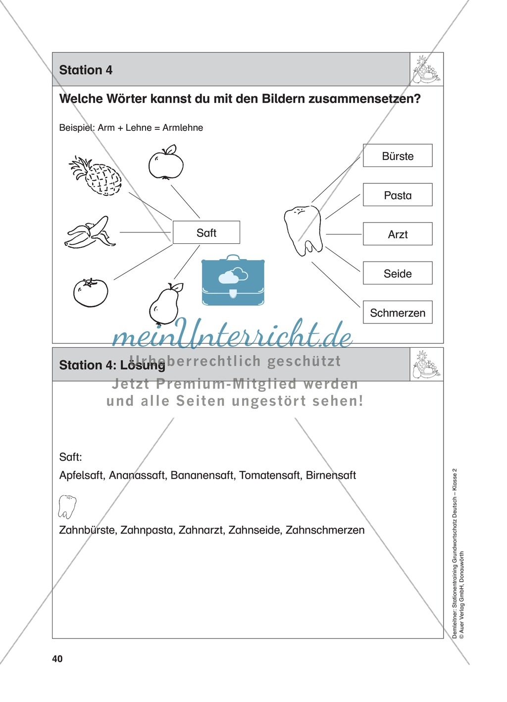 Stationentraining Ernährung: Arbeitsblätter mit Lösungen, Diktat Preview 4