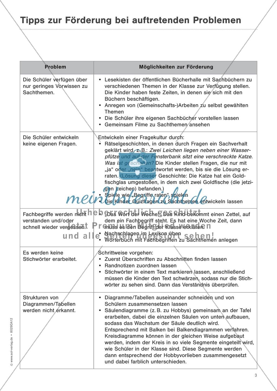 """Sachtexte verstehen - Strategien vermitteln: """"Diagramme und Tabellen"""" - Beobachtungsbogen + Fördertipps + Aufgaben Preview 2"""