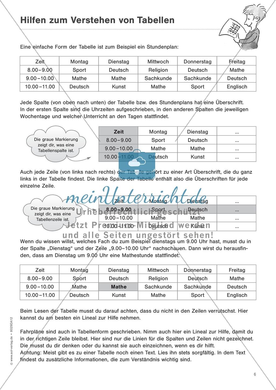 """Sachtexte verstehen - Strategien vermitteln: """"Diagramme und Tabellen"""" - Beobachtungsbogen + Fördertipps + Aufgaben Preview 5"""
