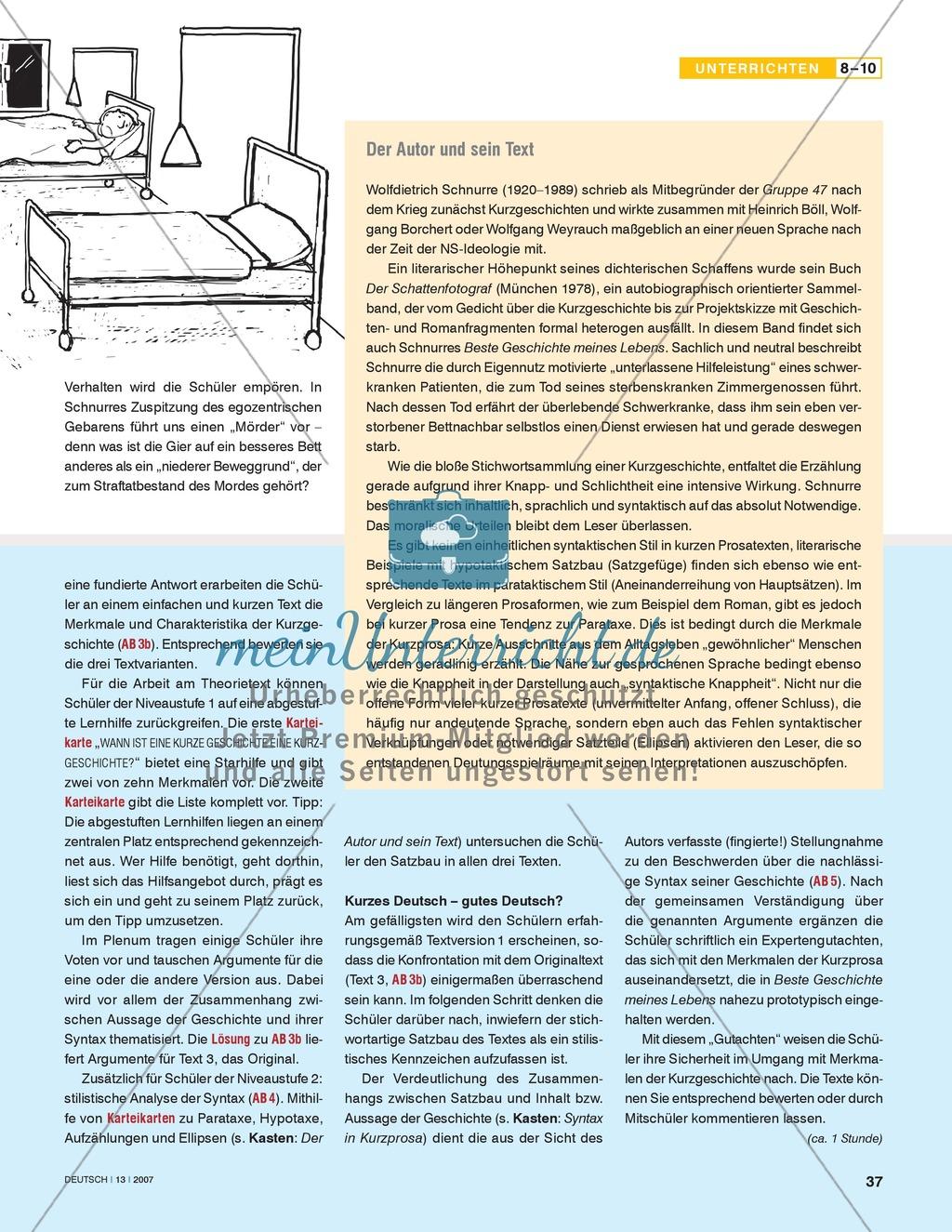 schnurres kurzgeschichte beste geschichte meines lebens satzbaumuster untersuchen. Black Bedroom Furniture Sets. Home Design Ideas