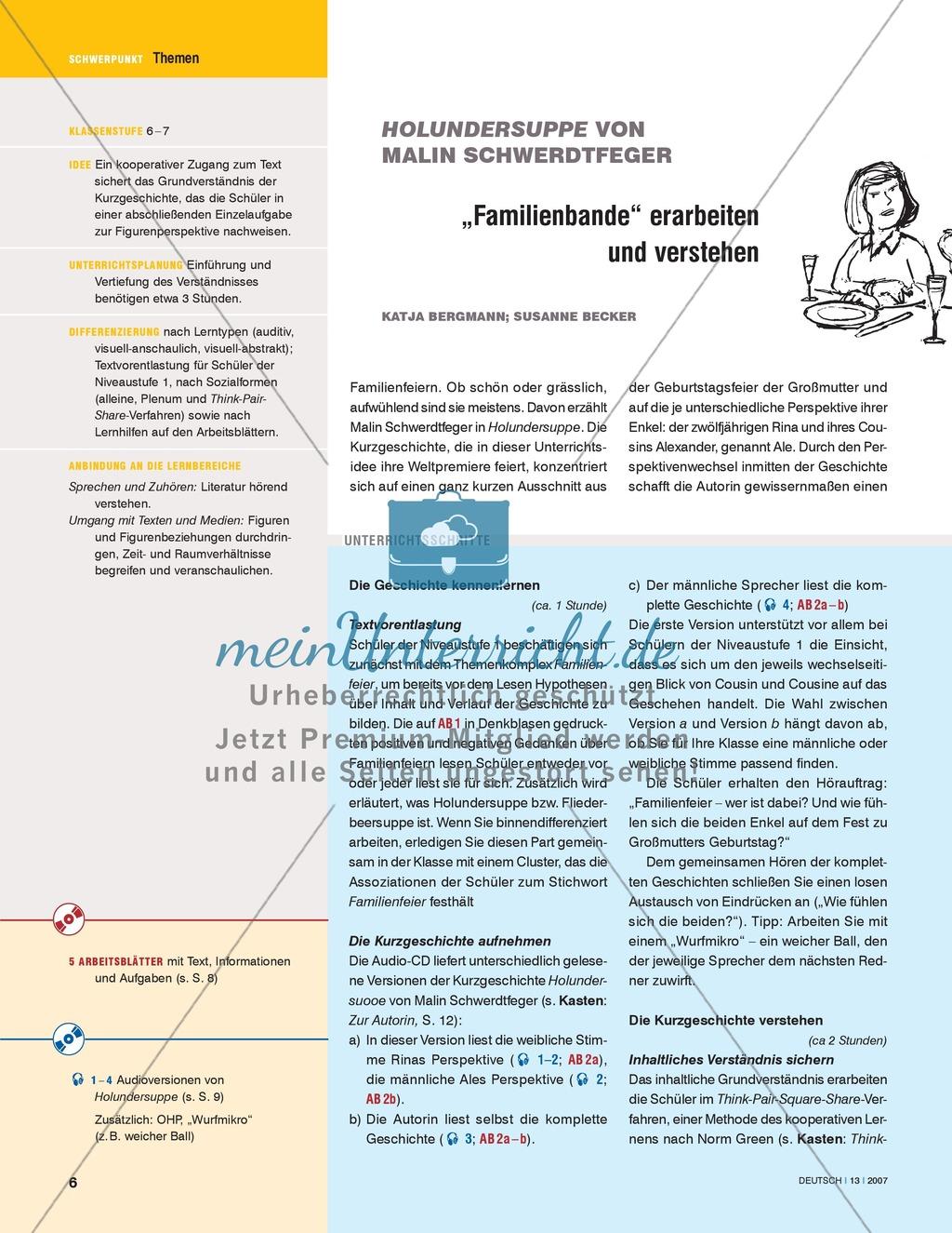 """Schwerdtfegers Kurzgeschichte """"Holundersuppe"""" - Familienbande erarbeiten und verstehen: Unterrichtsidee Preview 1"""