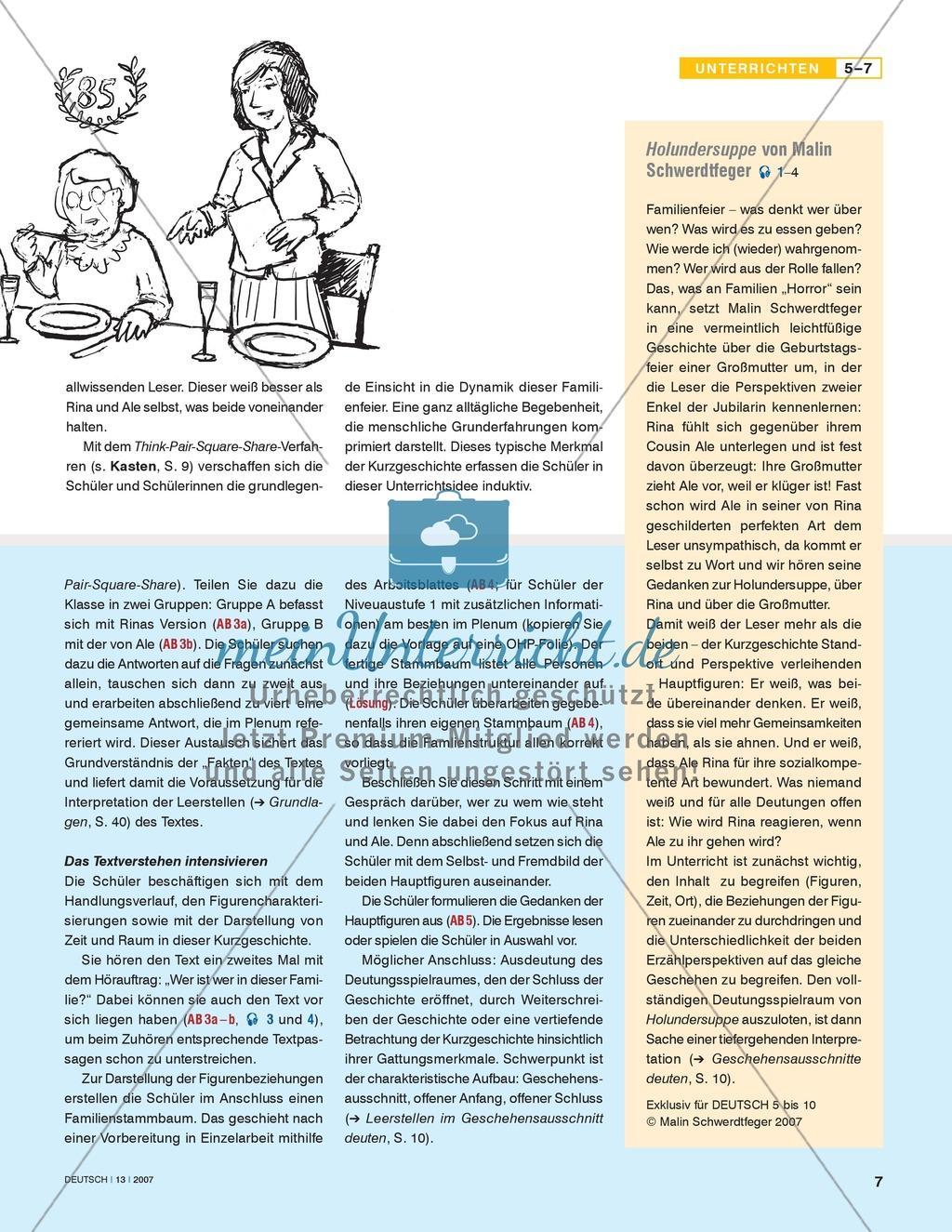 """Schwerdtfegers Kurzgeschichte """"Holundersuppe"""" - Familienbande erarbeiten und verstehen: Unterrichtsidee Preview 2"""