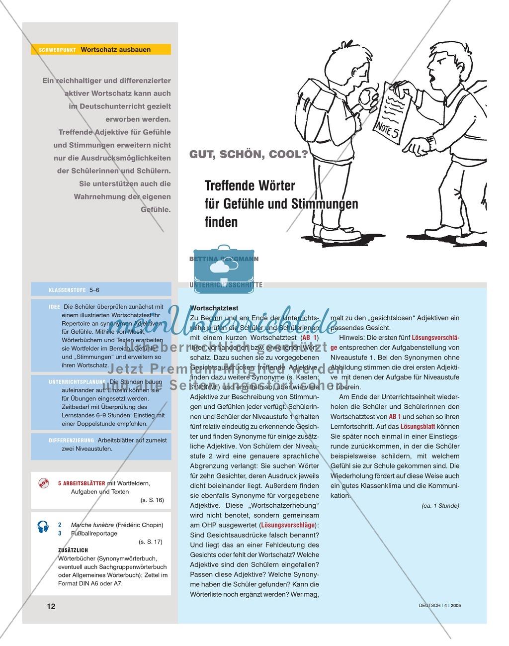 Wortschatzarbeit - Treffende Wörter für Gefühle und Stimmungen finden: Anregungen, Unterrichtsplanung Preview 0