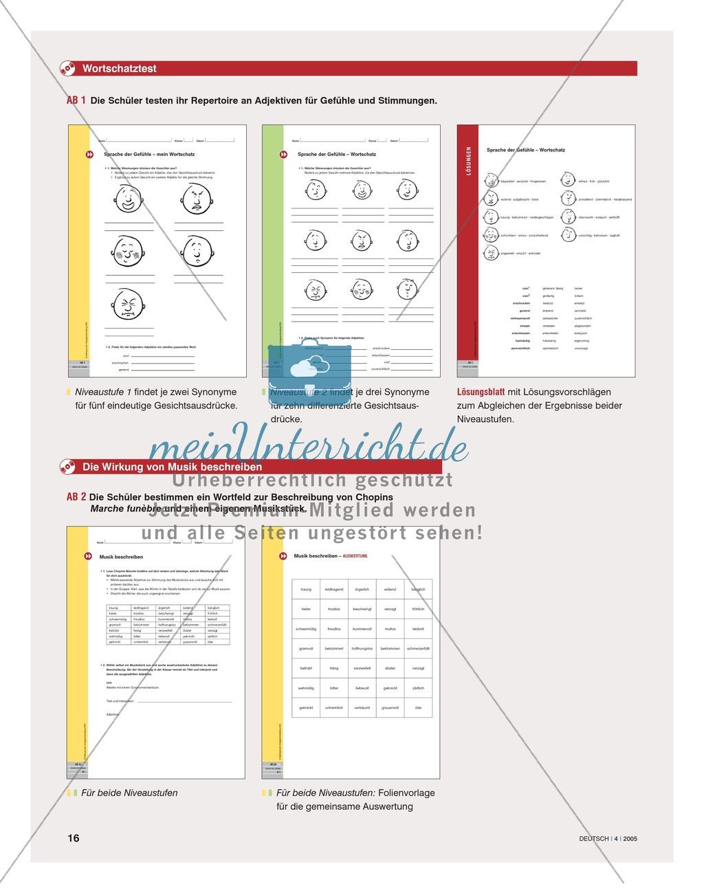 Wortschatzarbeit - Treffende Wörter für Gefühle und Stimmungen finden: Anregungen, Unterrichtsplanung Preview 4