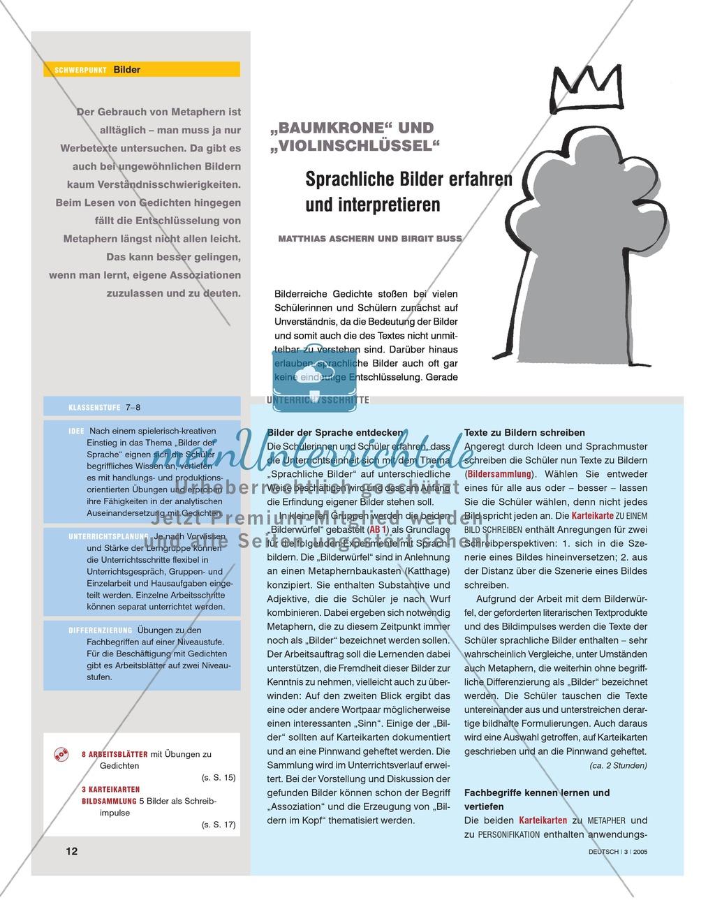 Lyrik im Unterricht - Sprachliche Bilder erfahren und interpretieren: Unterrichtsidee Preview 0