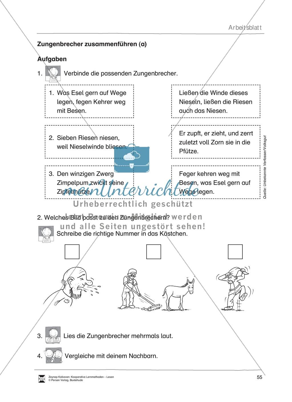 Unterrichtsbeispiel zu Zungenbrechern. Mit Arbeitsanweisungen, Arbeitsblätter und Lösungen. Preview 1