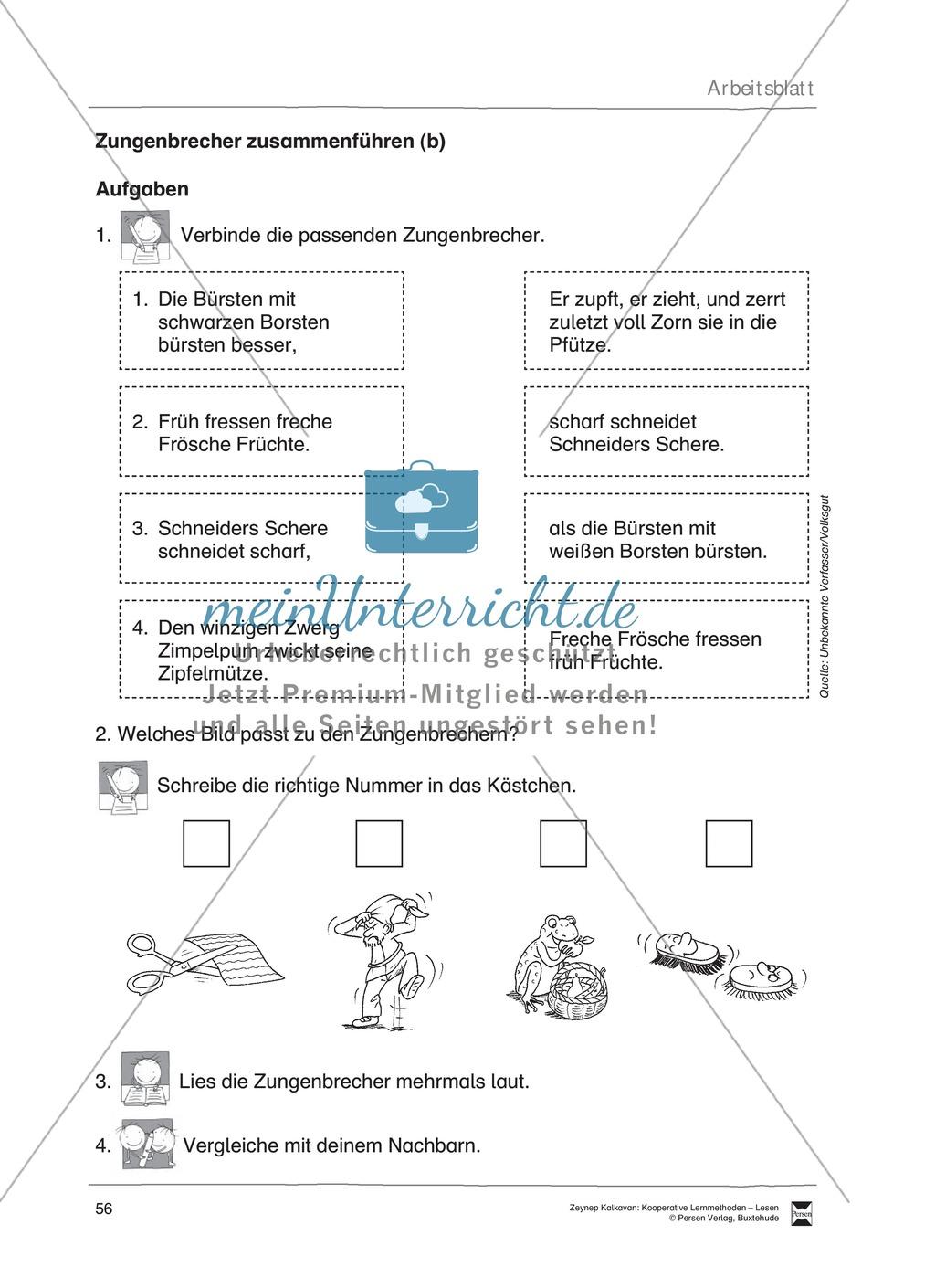 Unterrichtsbeispiel zu Zungenbrechern. Mit Arbeitsanweisungen, Arbeitsblätter und Lösungen. Preview 2