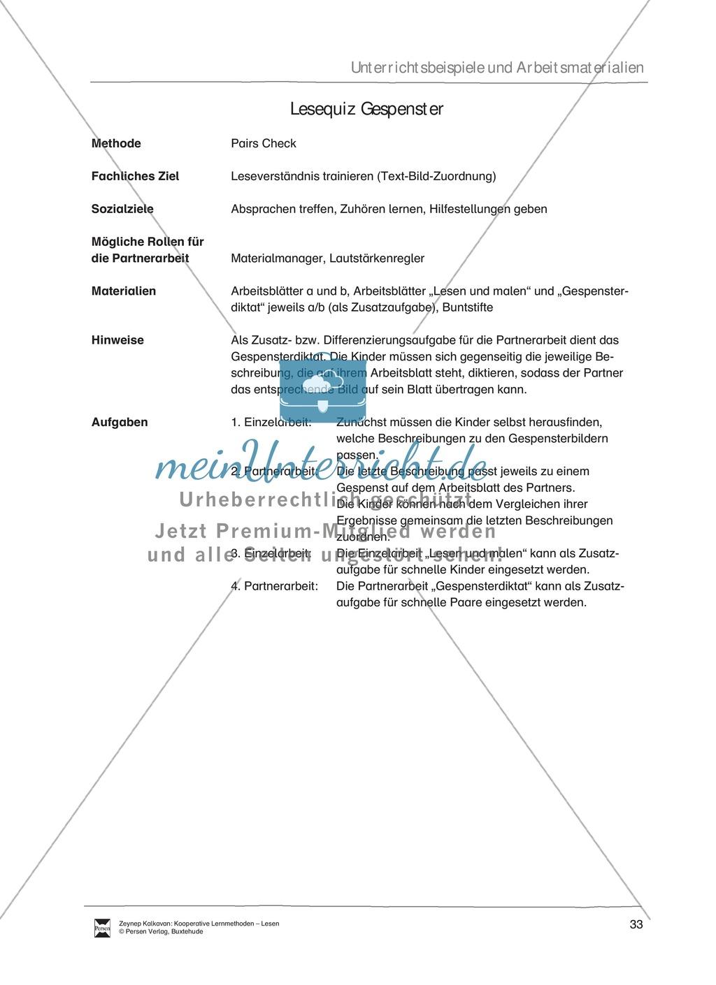 Unterrichtsbeispiel: Lesequiz Gespenster: Arbeitsanweisungen ...