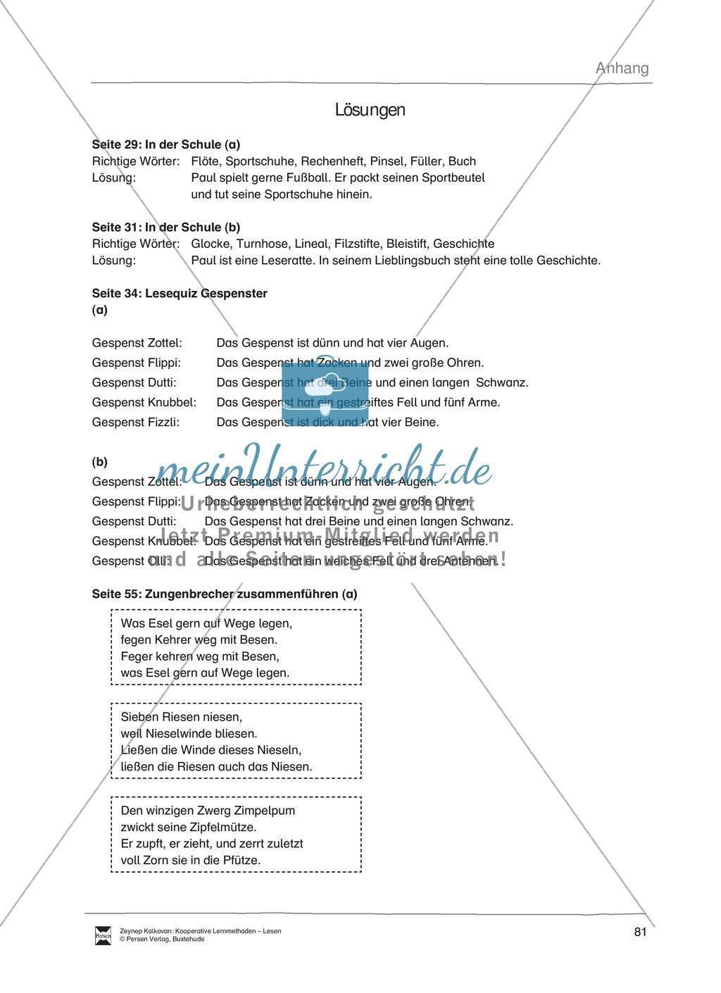 Unterrichtsbeispiel: Lesequiz Gespenster: Arbeitsanweisungen, Arbeitsblätter und Lösungen Preview 5
