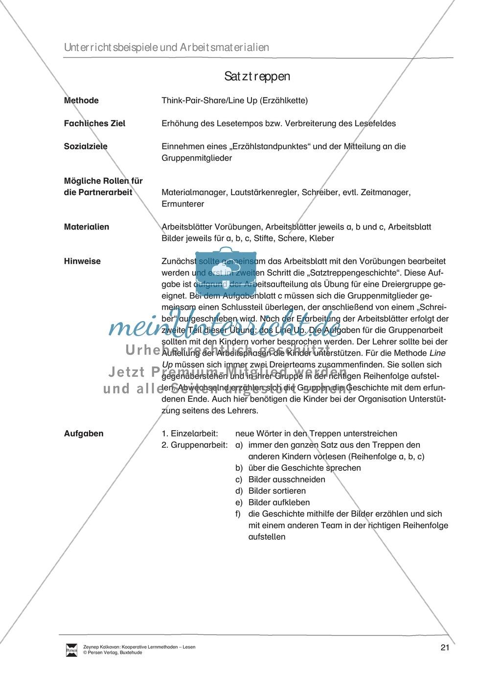 Unterrichsbeispiel: Satztreppen: Arbeitsanweisungen, Arbeitsblätter Preview 0