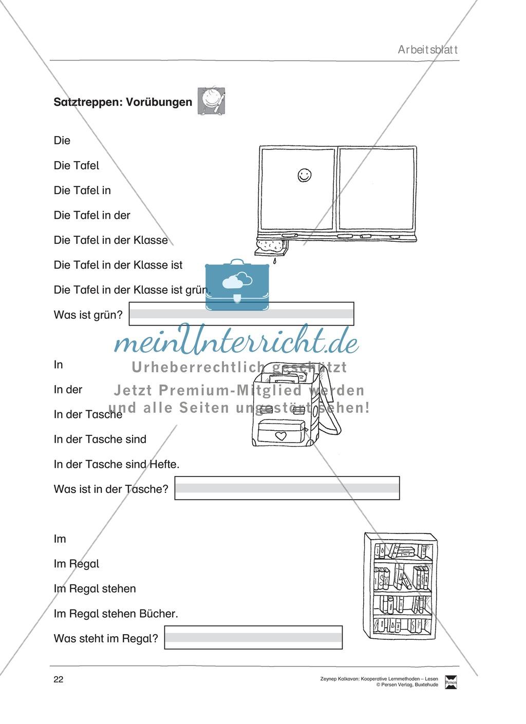 Unterrichsbeispiel: Satztreppen: Arbeitsanweisungen, Arbeitsblätter Preview 1
