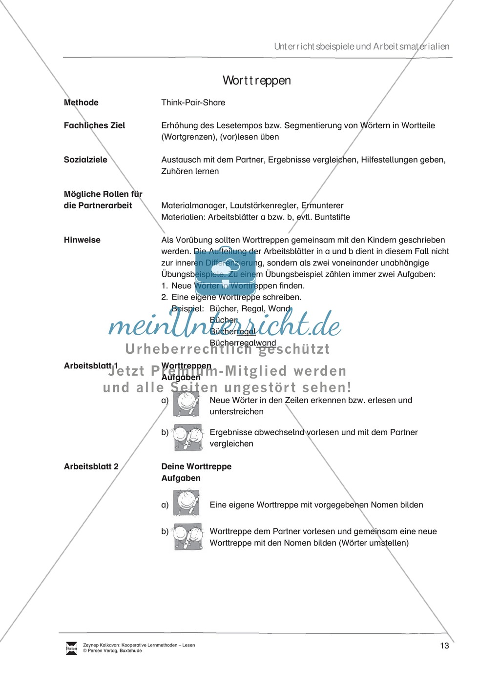 Unterrichtsbeispiel: Worttreppen: Arbeitsanweisungen, Arbeitsblätter Preview 0