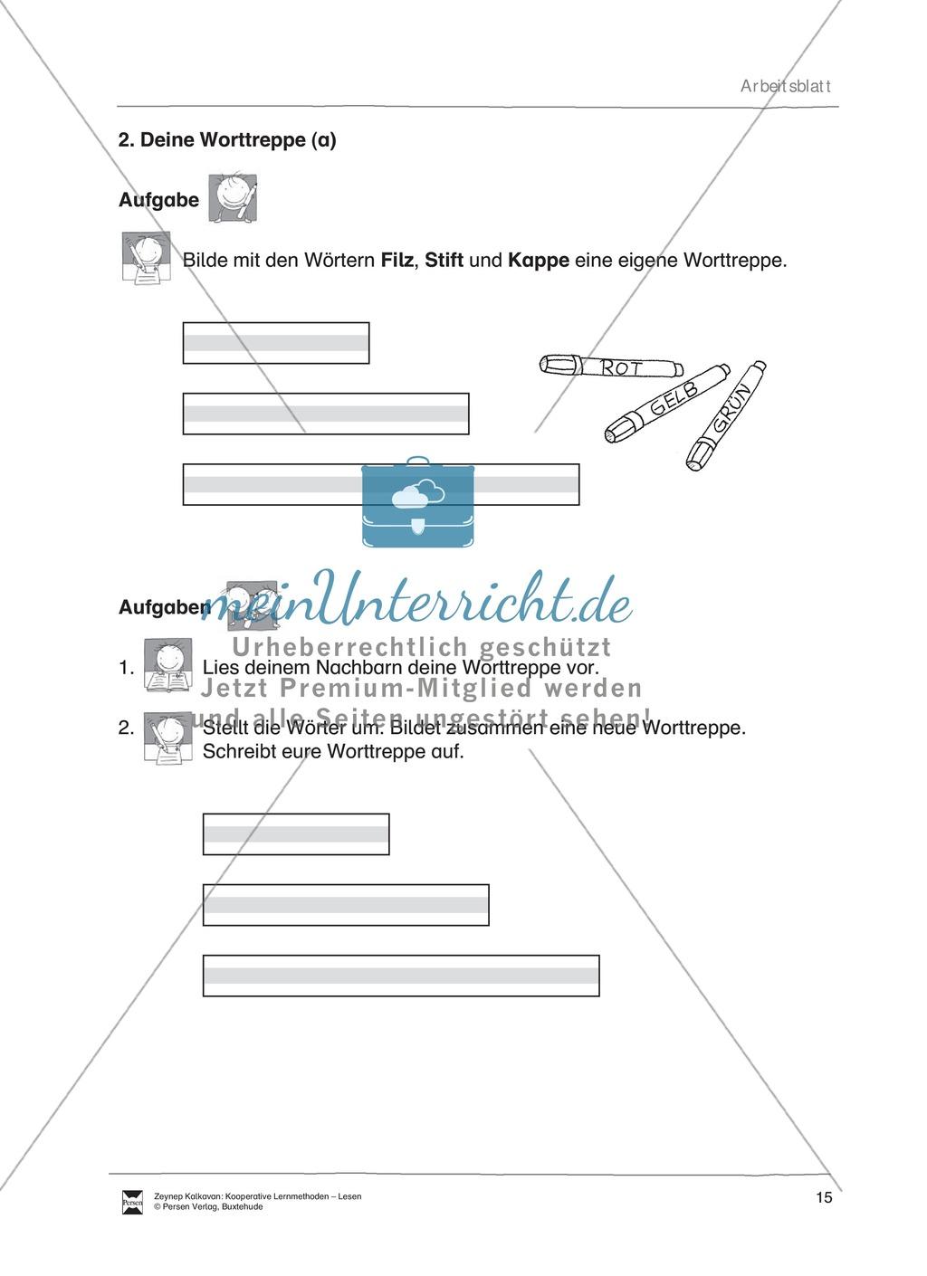 Unterrichtsbeispiel: Worttreppen: Arbeitsanweisungen, Arbeitsblätter Preview 2