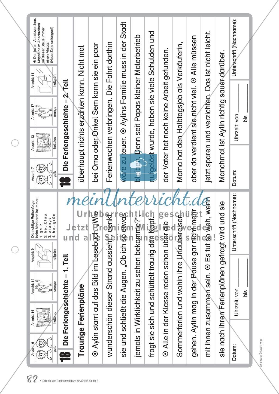 Die Feriengeschichte: Text und Bearbeitungsbogen Preview 0
