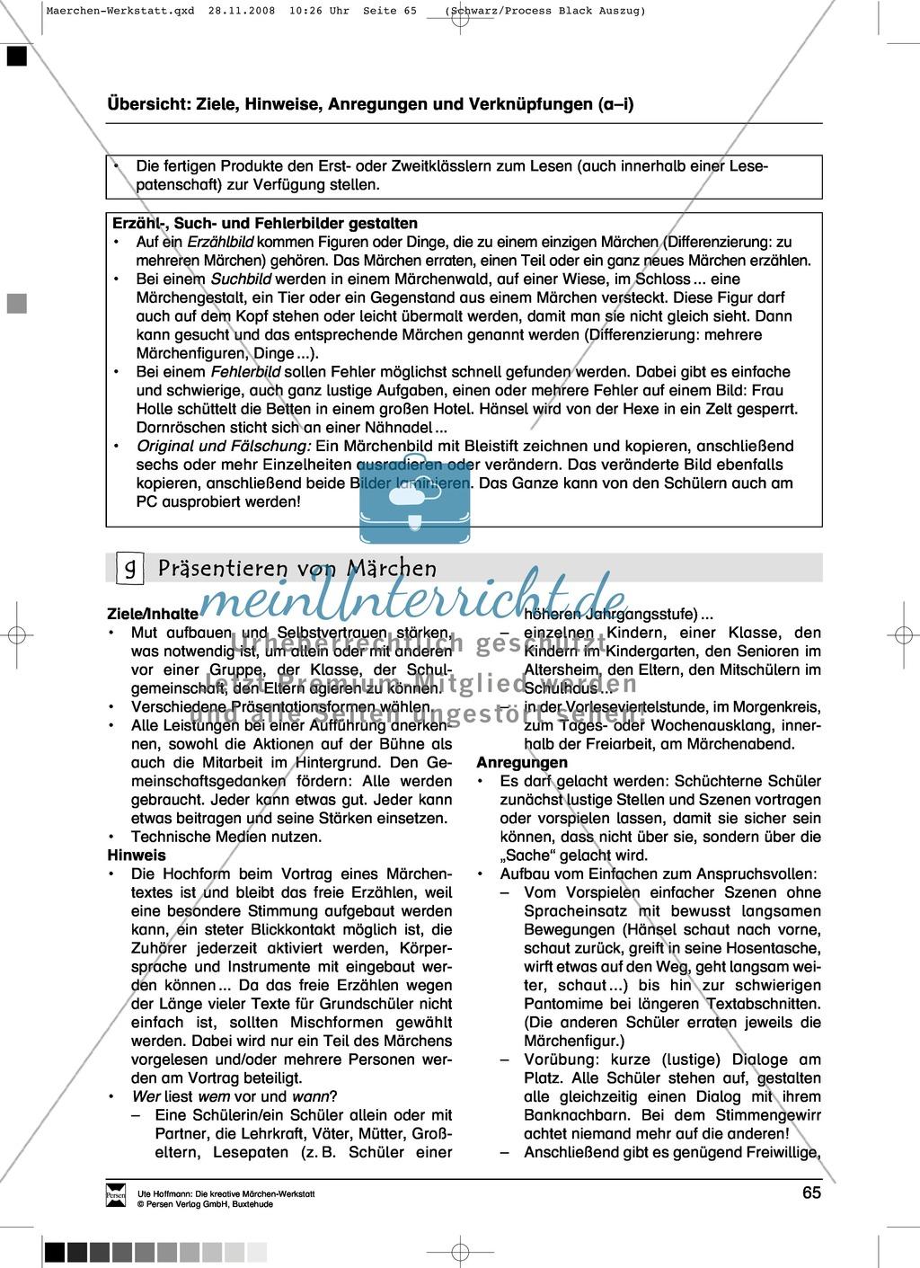 Präsentieren von Märchen: Ziele und Anregungen, Arbeitsblätter Preview 0