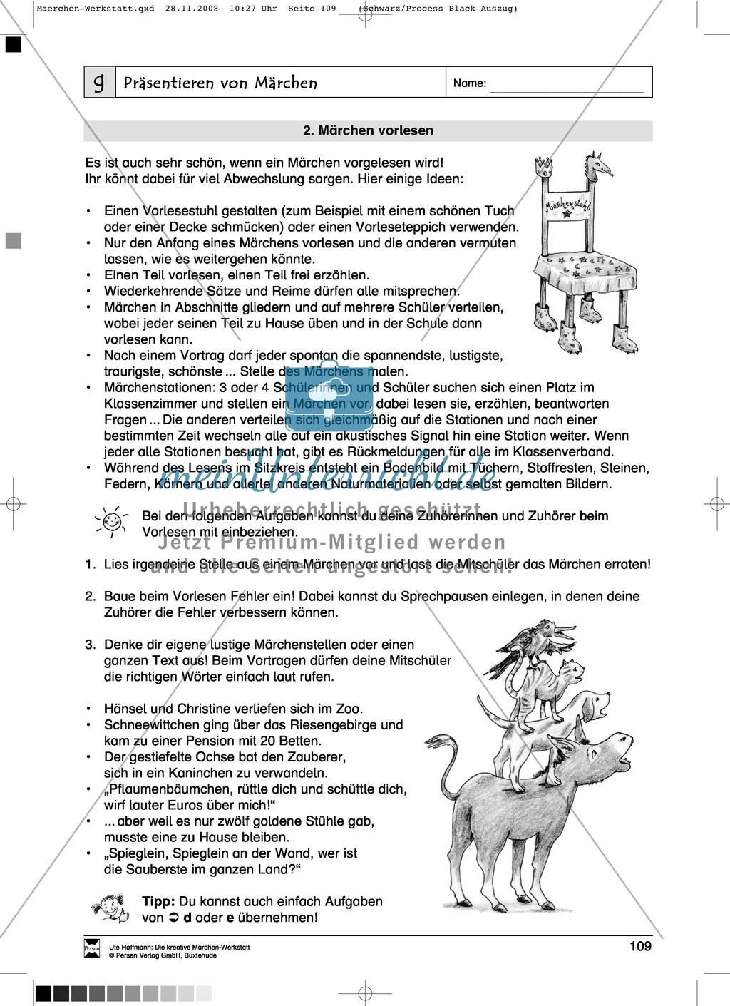Präsentieren von Märchen: Ziele und Anregungen, Arbeitsblätter ...