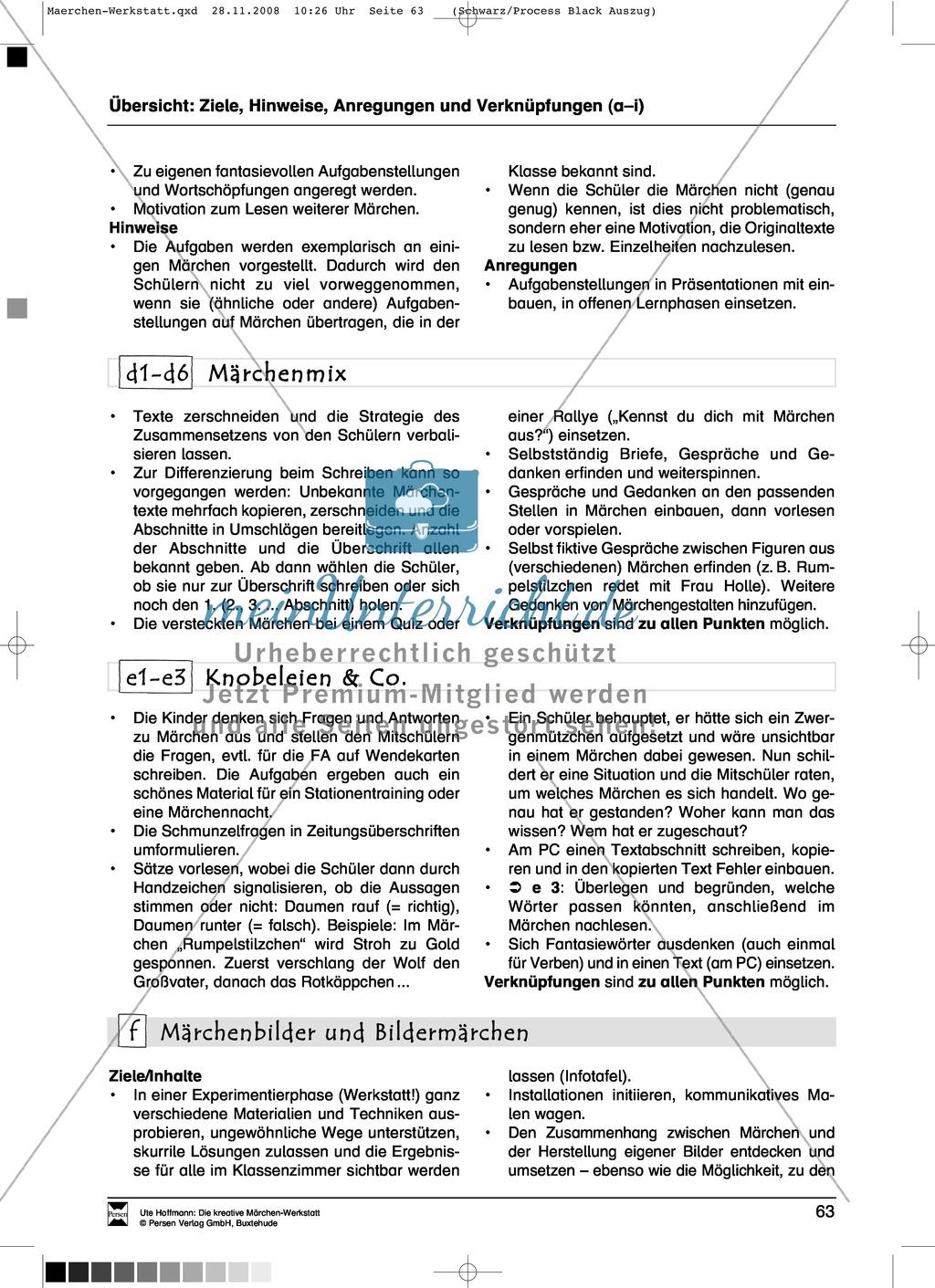 Märchenmix: Ziele und Anregungen, Arbeitsblätter Preview 0