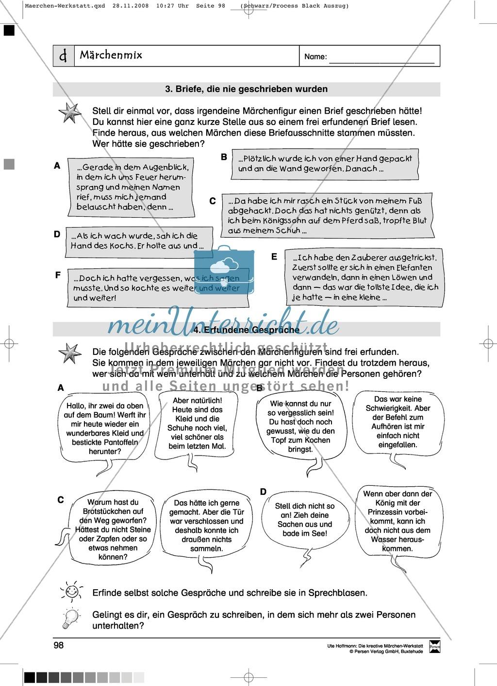Märchenmix: Ziele und Anregungen, Arbeitsblätter Preview 4