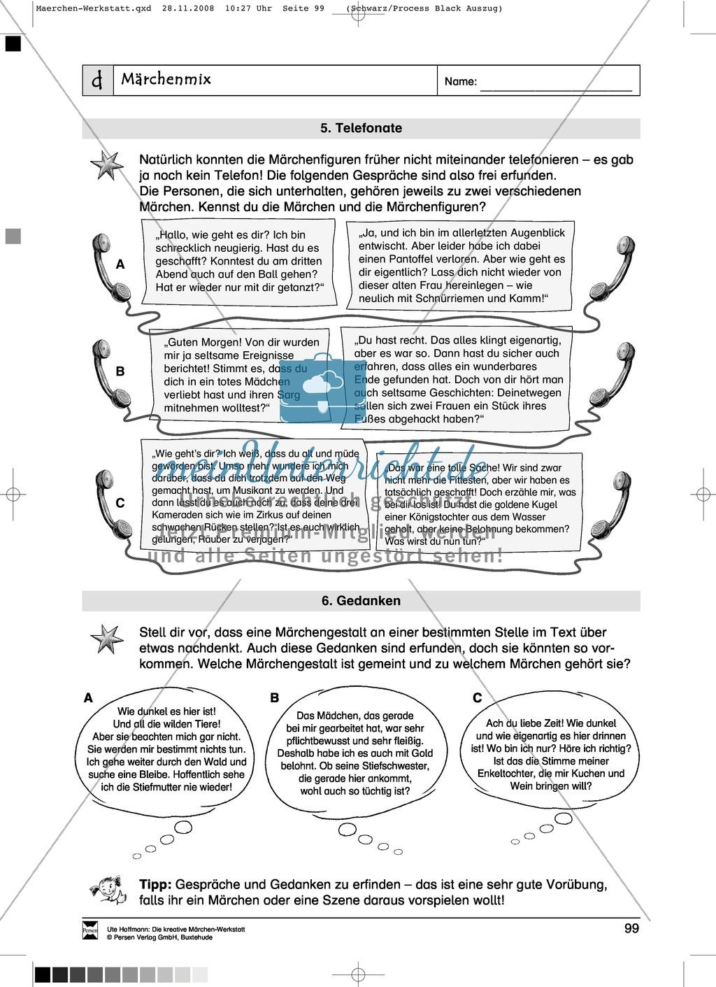 Märchenmix: Ziele und Anregungen, Arbeitsblätter Preview 5
