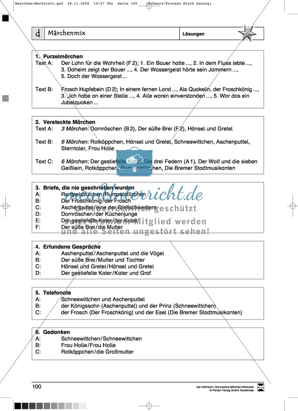 Märchenmix: Ziele und Anregungen, Arbeitsblätter Preview 6