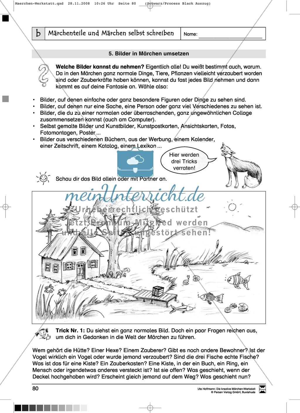 Märchenteile und Märchen selbst schreiben: Ziele und Anregungen, Arbeitsblätter Preview 11