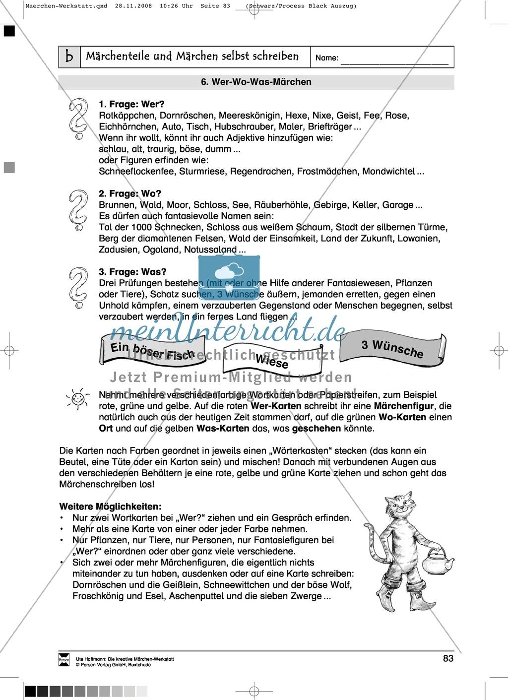 Märchenteile und Märchen selbst schreiben: Ziele und Anregungen, Arbeitsblätter Preview 14
