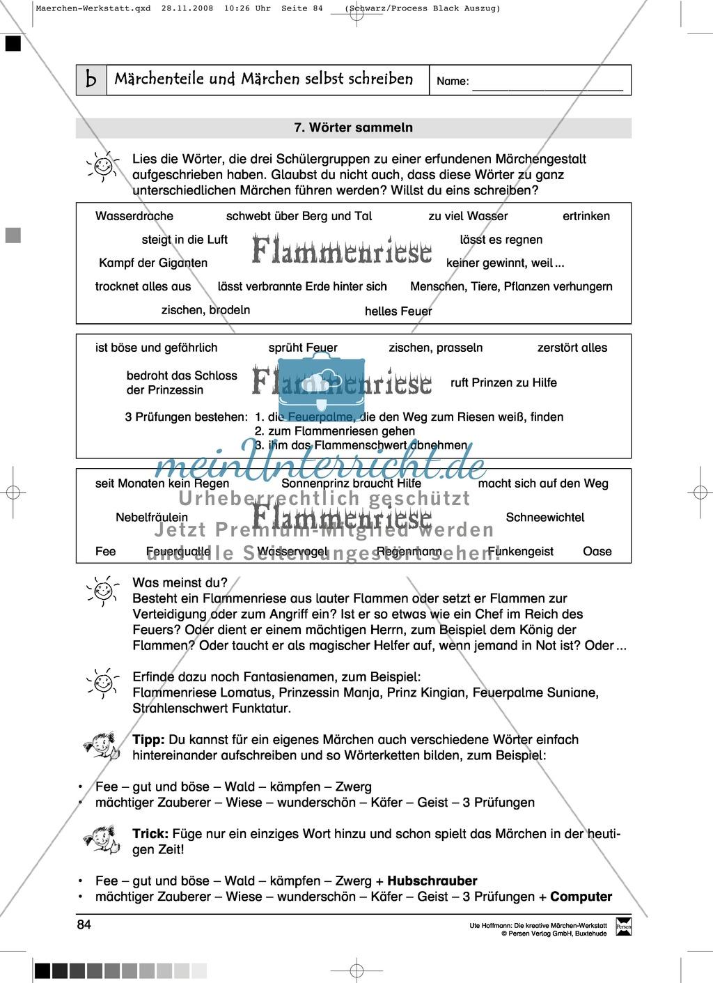 Märchenteile und Märchen selbst schreiben: Ziele und Anregungen, Arbeitsblätter Preview 15