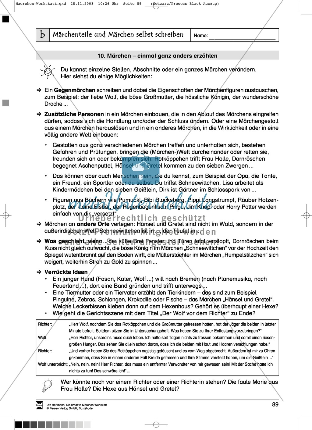Märchenteile und Märchen selbst schreiben: Ziele und Anregungen, Arbeitsblätter Preview 20