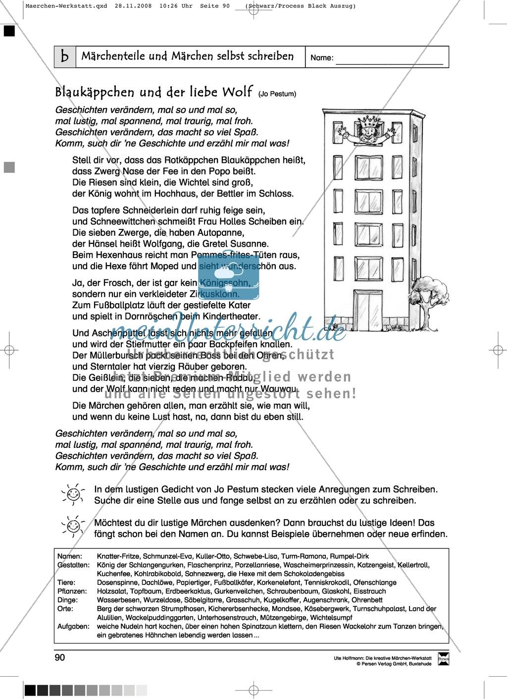 Märchenteile und Märchen selbst schreiben: Ziele und Anregungen, Arbeitsblätter Preview 21