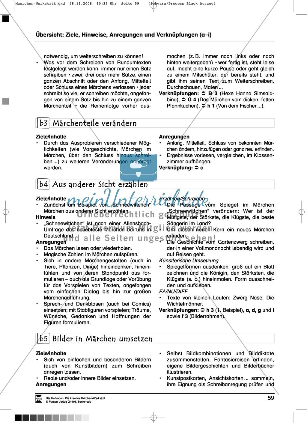 Märchenteile und Märchen selbst schreiben: Ziele und Anregungen, Arbeitsblätter Preview 1