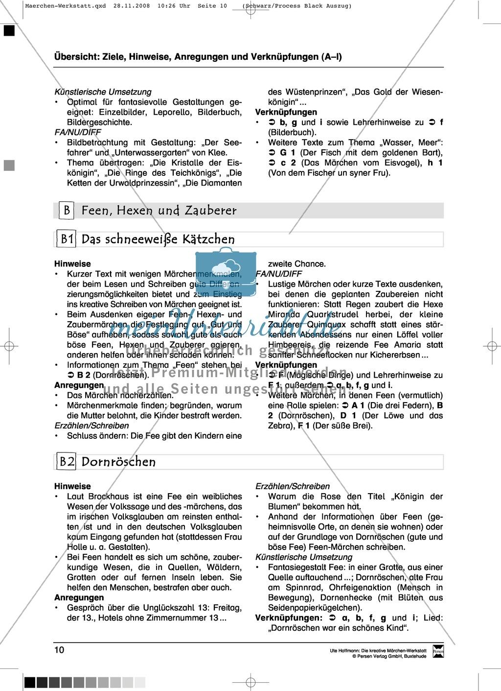 Feen, Hexen und Zauberer: Ziele und Anregungen, Lesetexte Preview 0