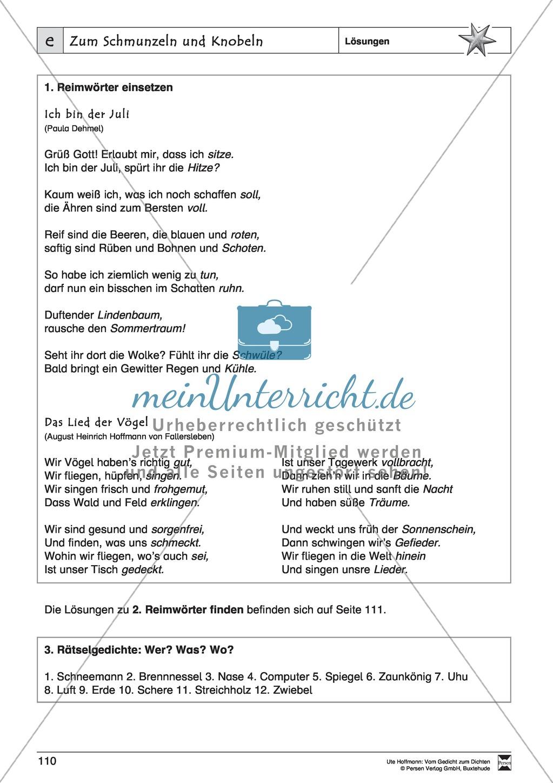 """Lyrische Texte - Gedichte schreiben und gestalten: """"Zum Schmunzeln und Knobeln"""" + Einführung Preview 10"""