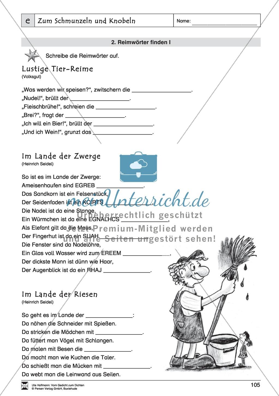 """Lyrische Texte - Gedichte schreiben und gestalten: """"Zum Schmunzeln und Knobeln"""" + Einführung Preview 5"""