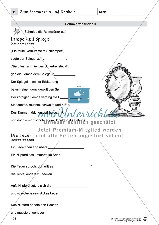 """Lyrische Texte - Gedichte schreiben und gestalten: """"Zum Schmunzeln und Knobeln"""" + Einführung Preview 6"""