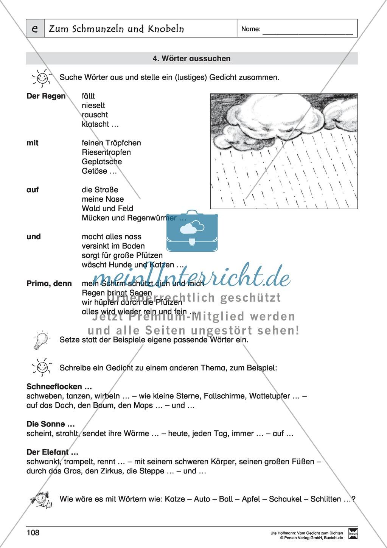 """Lyrische Texte - Gedichte schreiben und gestalten: """"Zum Schmunzeln und Knobeln"""" + Einführung Preview 8"""