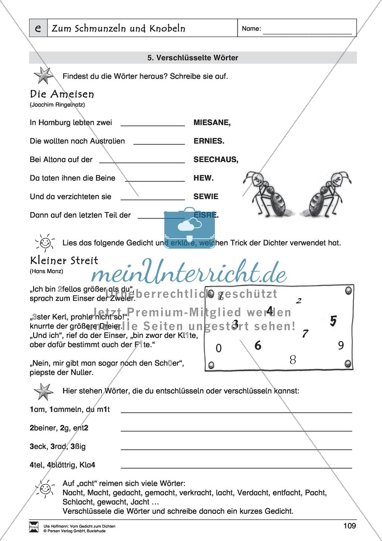 """Lyrische Texte - Gedichte schreiben und gestalten: """"Zum Schmunzeln und Knobeln"""" + Einführung Preview 9"""