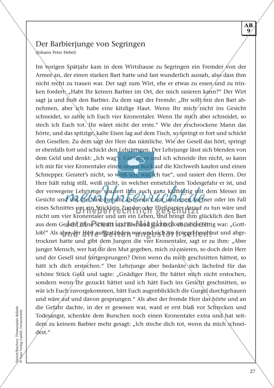 """Von Chamissos Ballade """"Der rechte Barbier"""" und Hebels Kalendergeschichte """"Der Barbierjunge von Segringen"""": Texte und Aufgaben Preview 2"""