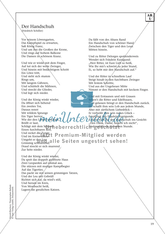 """Schillers """"Der Handschuh"""": Balladentext und Aufgaben Preview 1"""