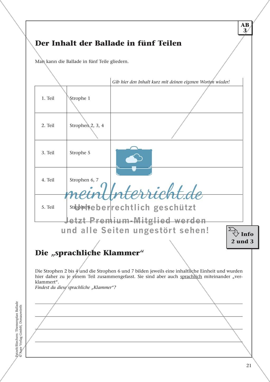 """Schillers """"Der Handschuh"""": Balladentext und Aufgaben Preview 3"""