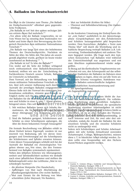 Balladen im Deutschunterricht: Themenplan inkl. Material (komplett) Preview 0