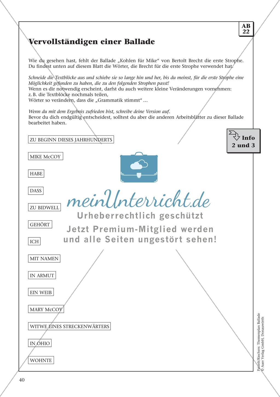 Balladen im Deutschunterricht: Themenplan inkl. Material (komplett) Preview 27
