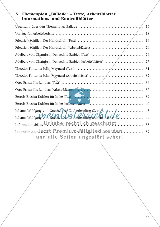 Balladen im Deutschunterricht: Themenplan inkl. Material (komplett) Preview 1