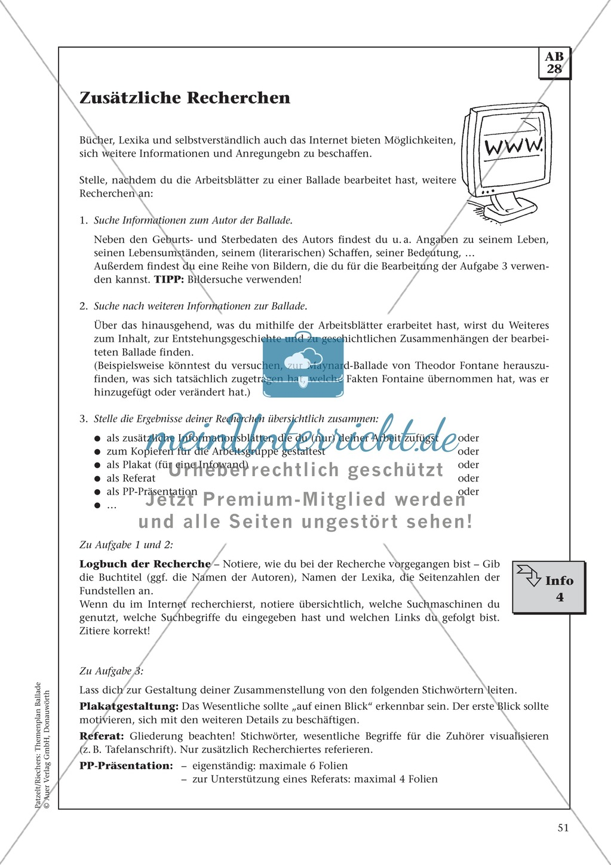 Balladen im Deutschunterricht: Themenplan inkl. Material (komplett) Preview 38