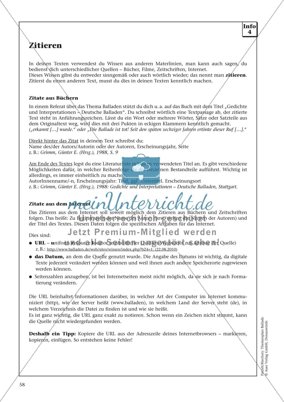 Balladen im Deutschunterricht: Themenplan inkl. Material (komplett) Preview 44