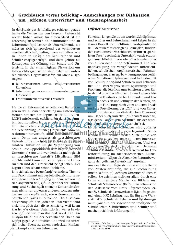 Offener Unterricht und Themenplanarbeit: fachdidaktischer Beitrag Preview 0