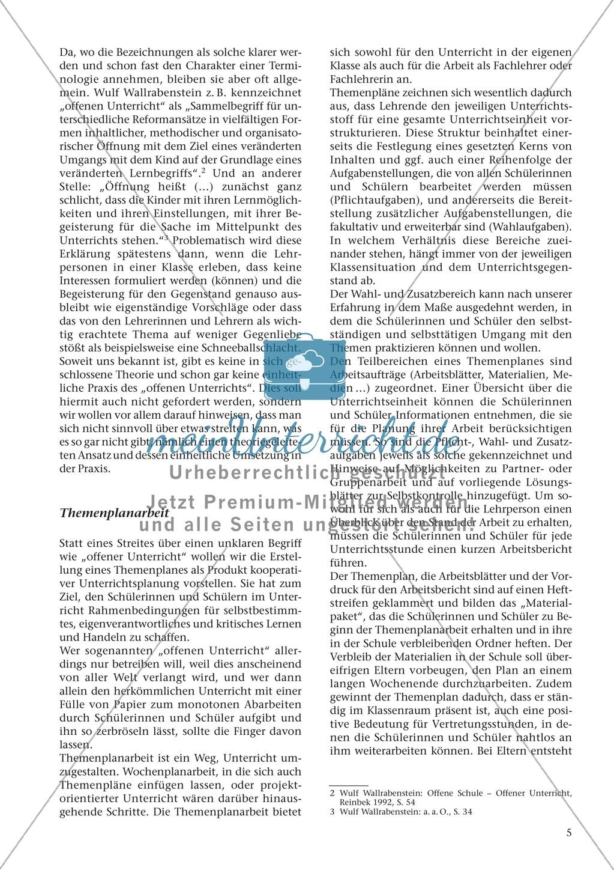 Offener Unterricht und Themenplanarbeit: fachdidaktischer Beitrag Preview 1