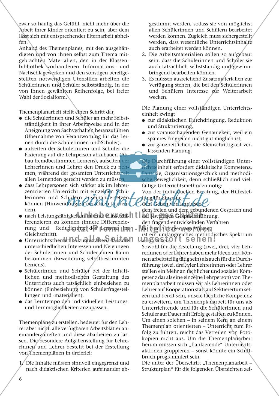 Offener Unterricht und Themenplanarbeit: fachdidaktischer Beitrag Preview 2