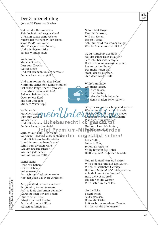"""Goethes """"Der Zauberlehrling"""": Balladentext und Aufgaben Preview 1"""