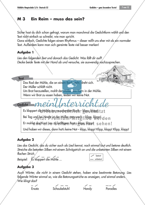 Unterrichtseinheit zum kennenlernen von Gedichten als besondere Texte mit verschiedenen Merkmalen. Mit Übungen und Lösungen. Preview 6