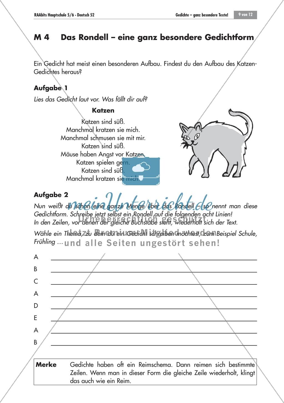 Besondere Gedichtform - das Rondell. Mit Aufgaben und Lösungen. Preview 0